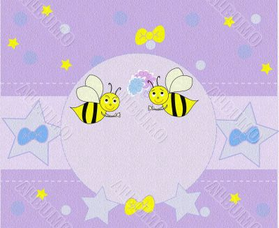 Beautiful background with bees and a place for text