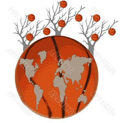 Map of the world is at a basketball ball and trees on a white background