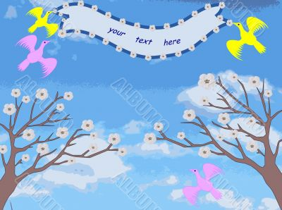 Two trees with flowers, birds keep the tape with space for text, illustration