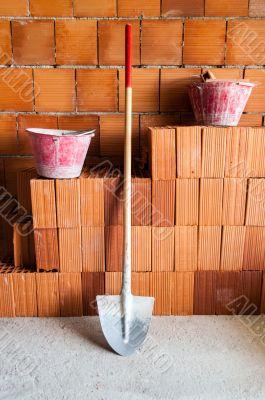 Masonry bricks, Shovel and buckets