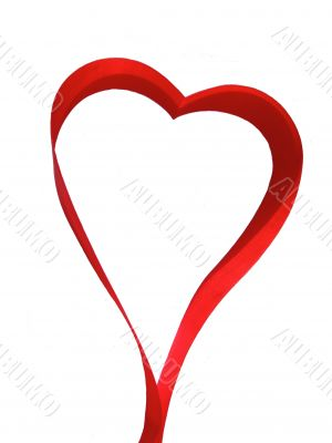 Heart made of red silky ribbon