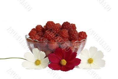 Berries raspberries in a glass vase on a table with flowers