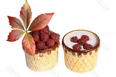 Berries raspberries and yoghurt in clay mugs on a white background