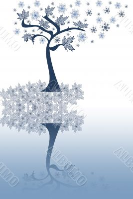 Abstraction  tree with leaves, snowflakes on a white-blue background