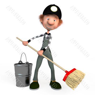 3d boy working.cleaner.