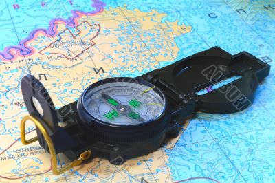 A compass and a map of the North of Russia
