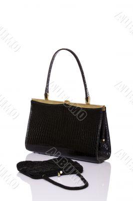 Lady black handbag and wallet