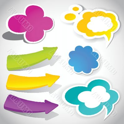 colorful vector speech bubbles and arrows for your text
