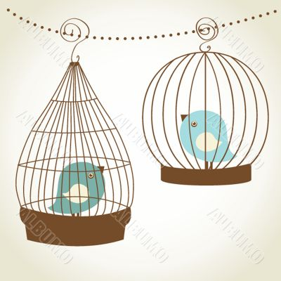 Vintage card with two cute birds in retro cages