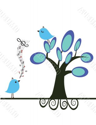 Cute blue birds on the love date