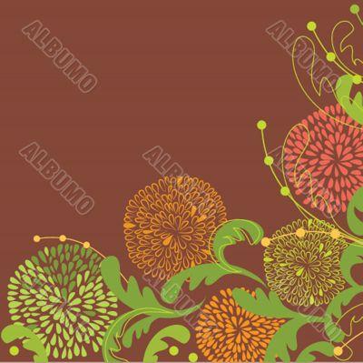 Vintage vector frame on floral background