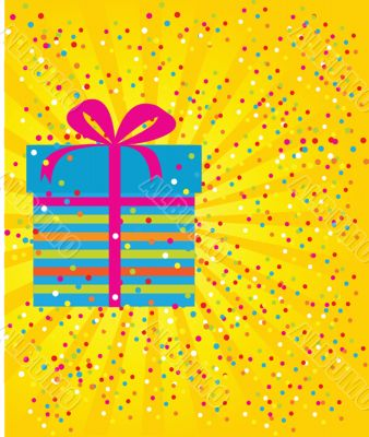 Greeting christmas card with present box