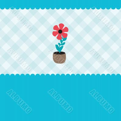 Vector illustration of growing plant  flower in pot.