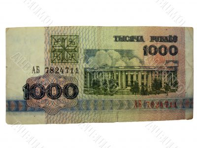 One thousand belorussian roubles isolated on the white backgroun