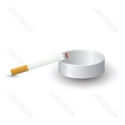 ashtray and cigarette