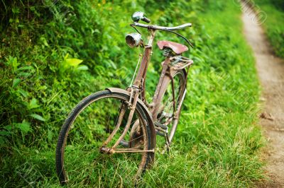 Old bicycle near footpath.