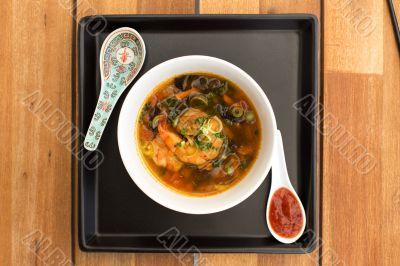 Asian vegetarian soup with shrimps