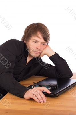 Serene man thinking about a business idea