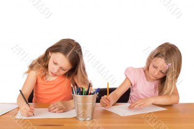 Children draw a drawing