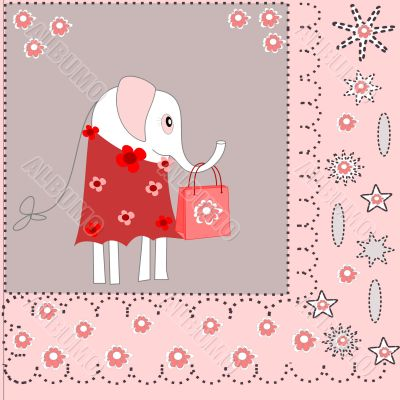 Beautiful background with an elephant in a dress with shopping bags