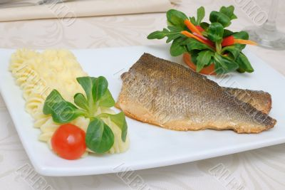 Baked fillet of sea bass
