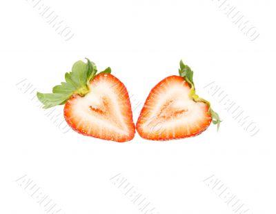 Fresh strawberry slice isolated on white background