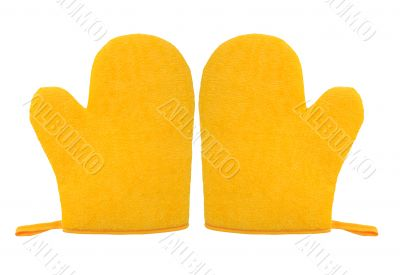 oven glove mitt yellow color isolated on white background