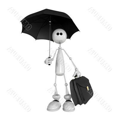 the small person with an umbrella and a portfolio