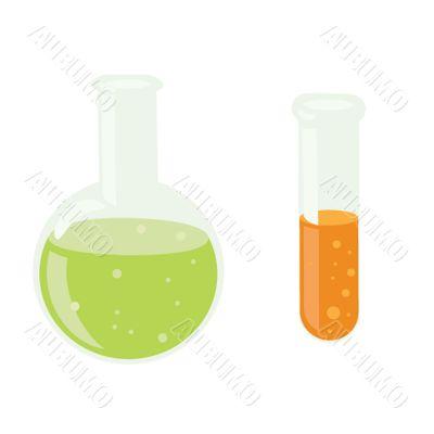 Chemistry laboratory bottles.