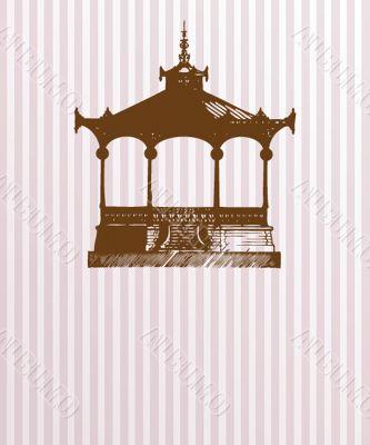 Vintage card with old pavilion.