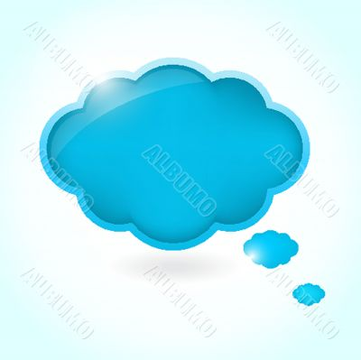 Watercolor isolated cloud with space for text - raster version