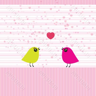 Cute birds on the love date