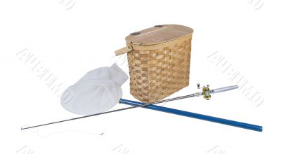 Fishing Pole with Net and Fish Basket