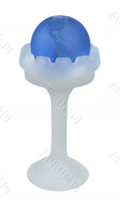 Blue Crystal Globe in a Glass Holder