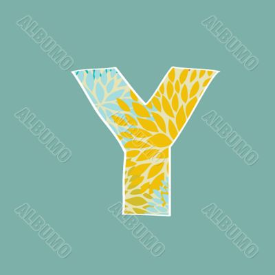 Grunge Vector Letter. Green Eco Style. Font Symbol Y.