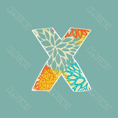 Grunge Vector Letter. Green Eco Style. Font Symbol X.