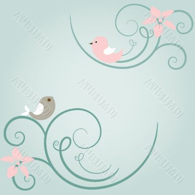 Vintage vector frame on floral background