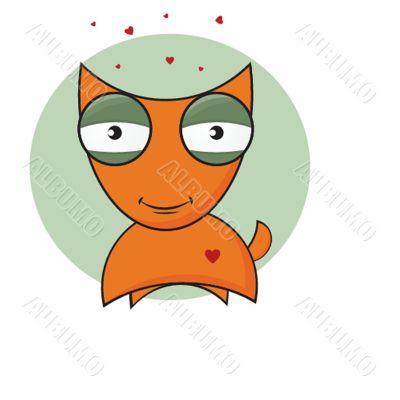 Vector cartoon illustration of a cute little red fox.