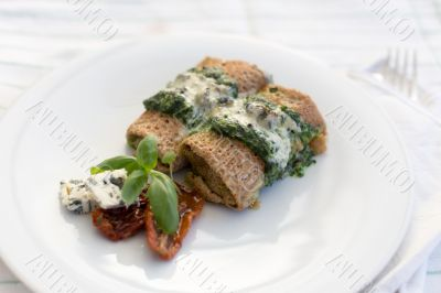 Delicious salty pancakes with spinach