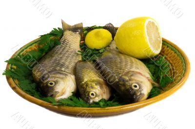 Three carp on ceramic dish , greens and lemon
