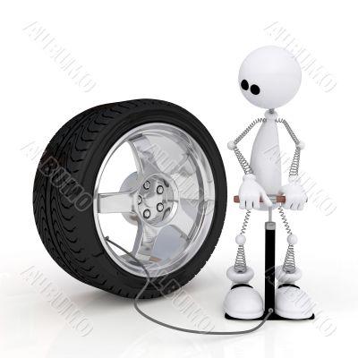 The 3D little man pumps up a wheel.