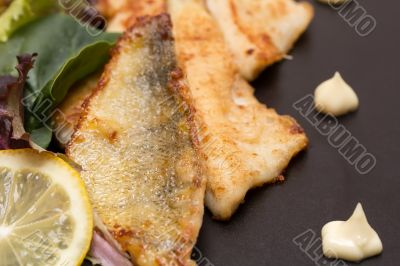 Fried perch fillets with potatoes