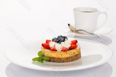 Cheesecake and cup of coffee