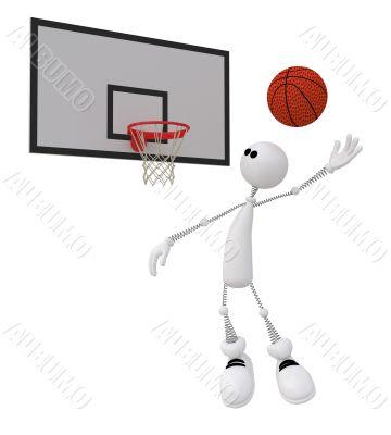 3d little man basketball player.