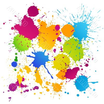 Colorful vector ink blots