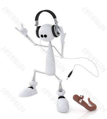 The 3D little man with earphones.