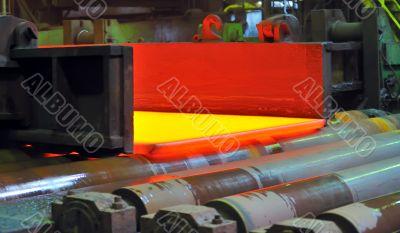 hot steel on conveyor