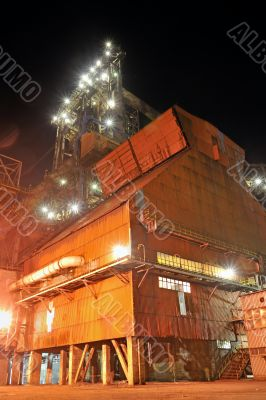 steel industry at night