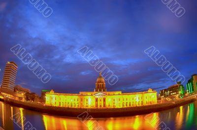 Custom House on the river Liffey in Dublin fish-eye at night.
