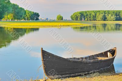 alone fishing boat on danube river